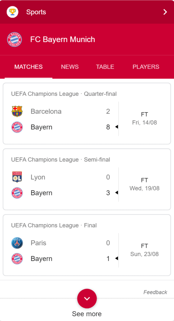 Sport result