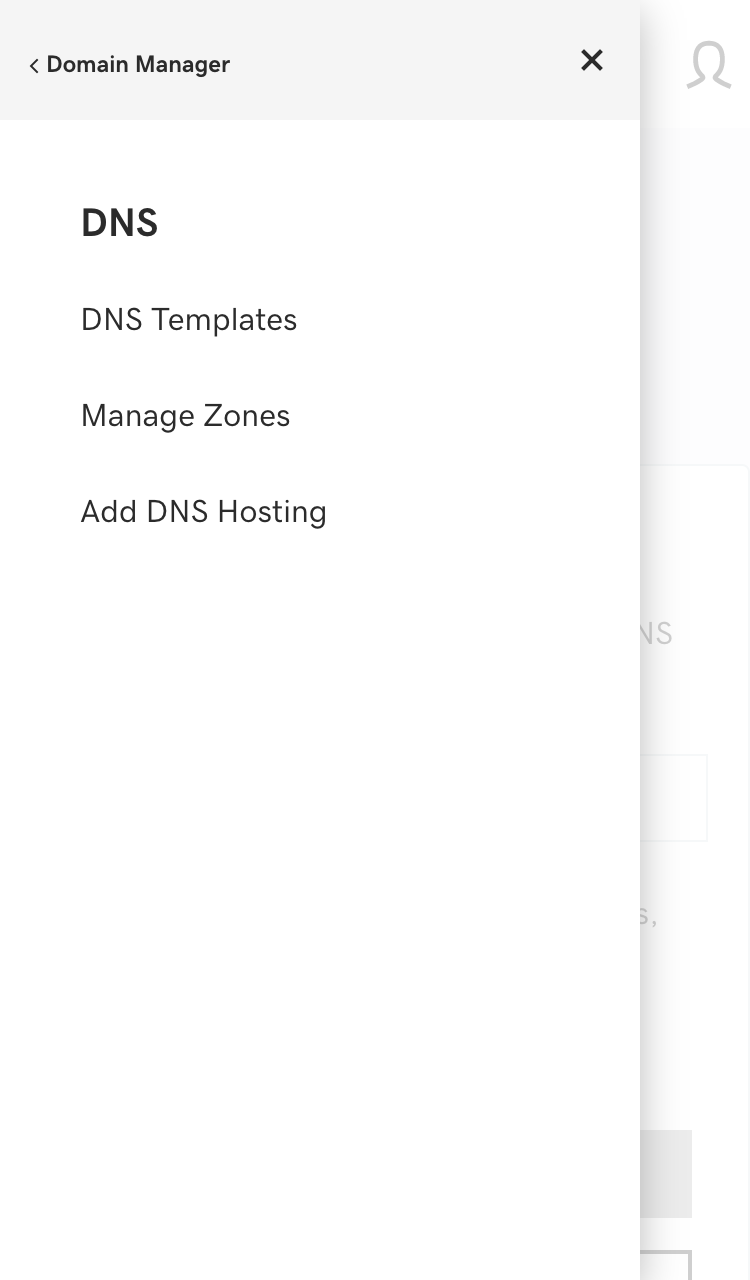 example domain name manager interface