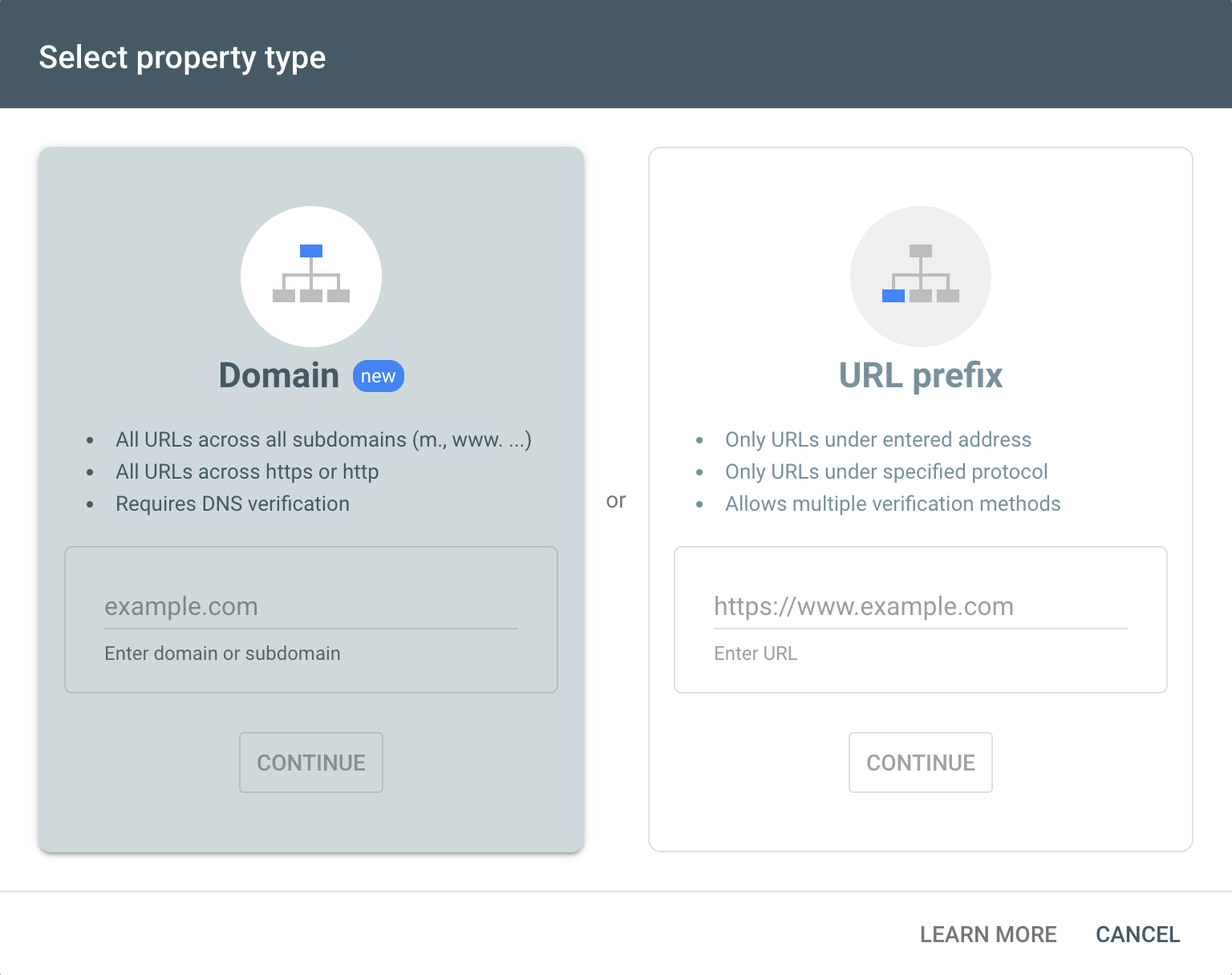 Search Console site registration page.