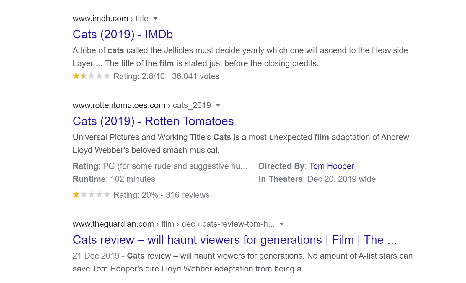 Rich snippets, an example from search results