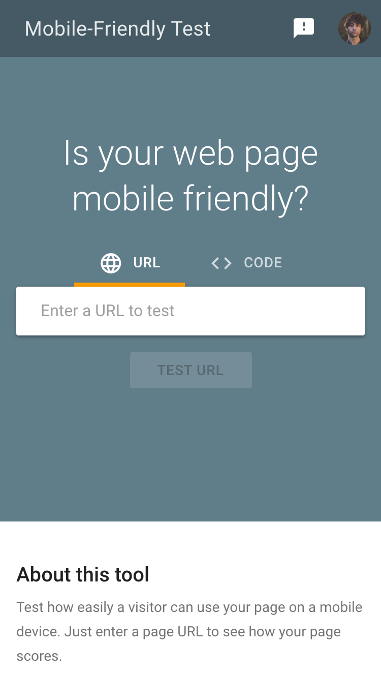 Mobile friendly test tool (image)