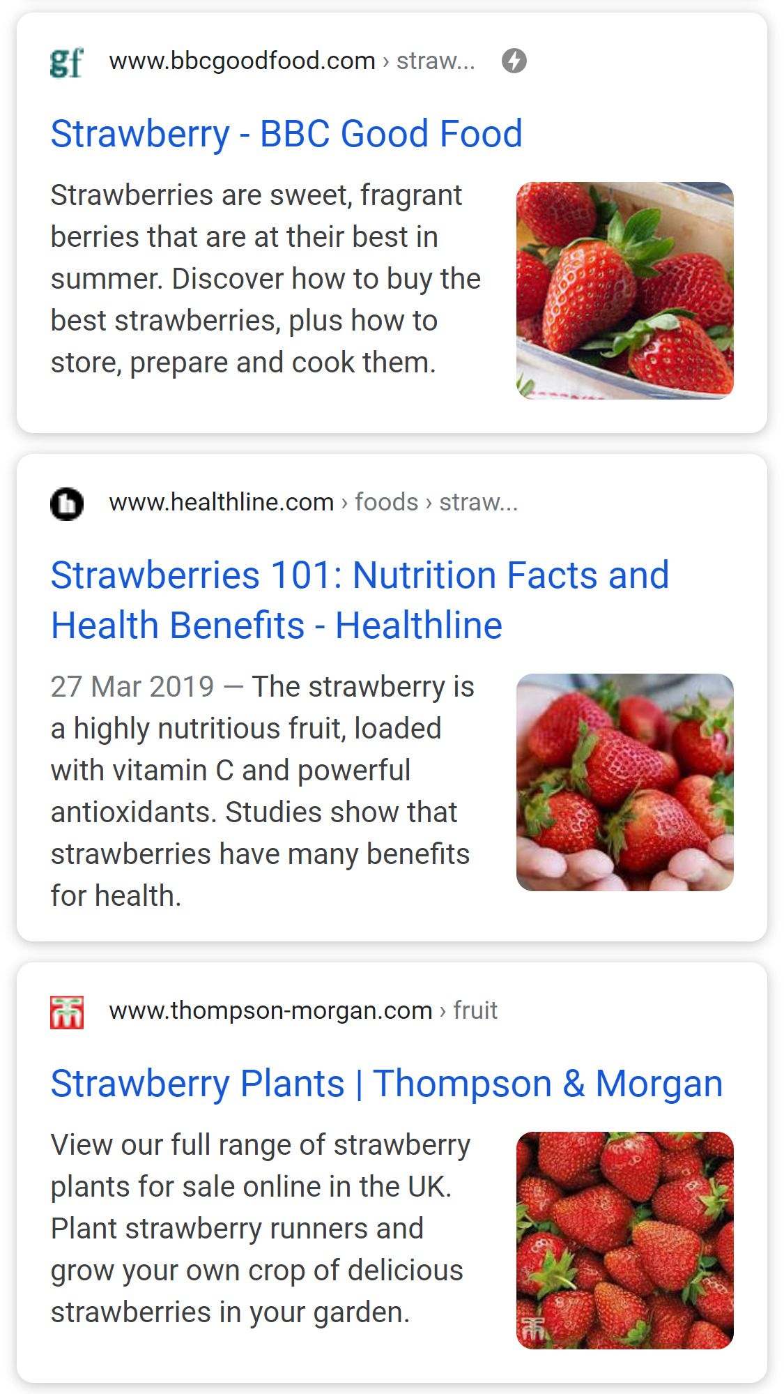 Example search result showing the titles.