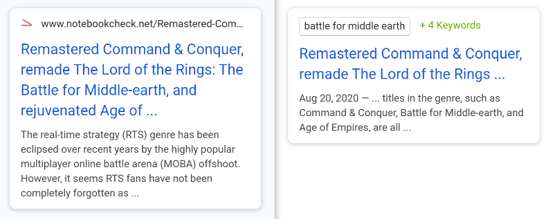 serps snippet and meta description comparison
