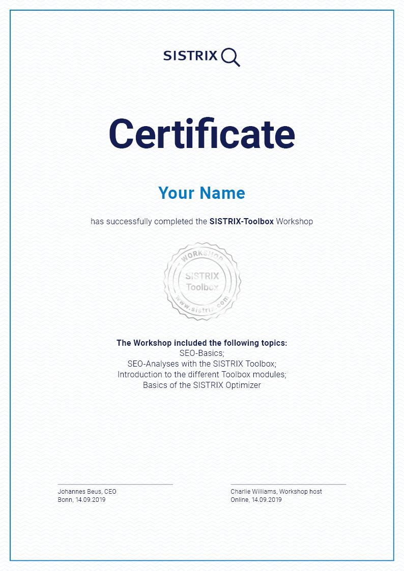 Personal SISTRIX Toolbox certificate