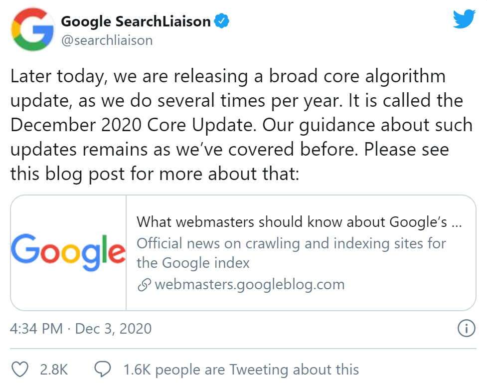 Image of the core update tweet from Google