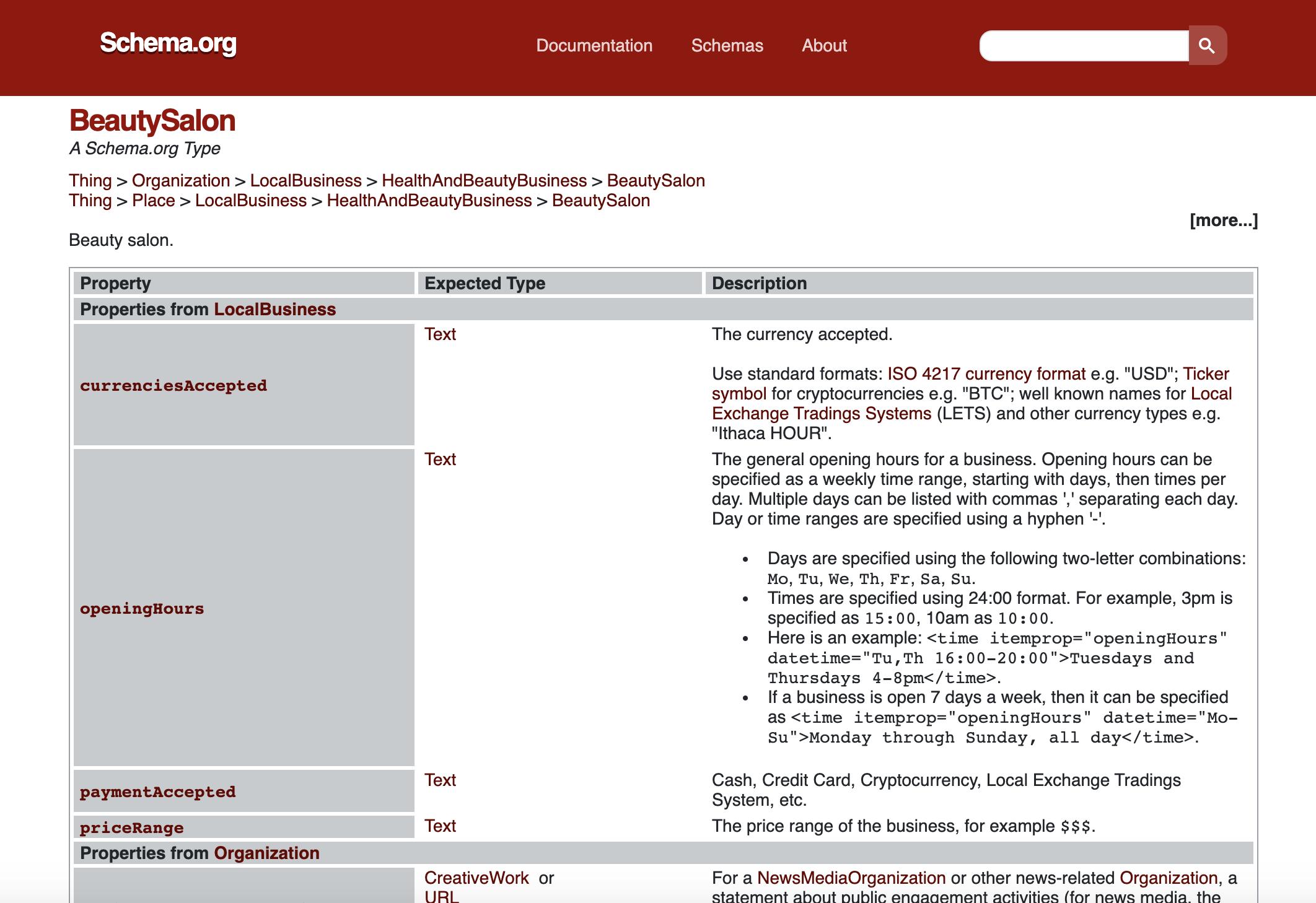 Schema.org example configuration