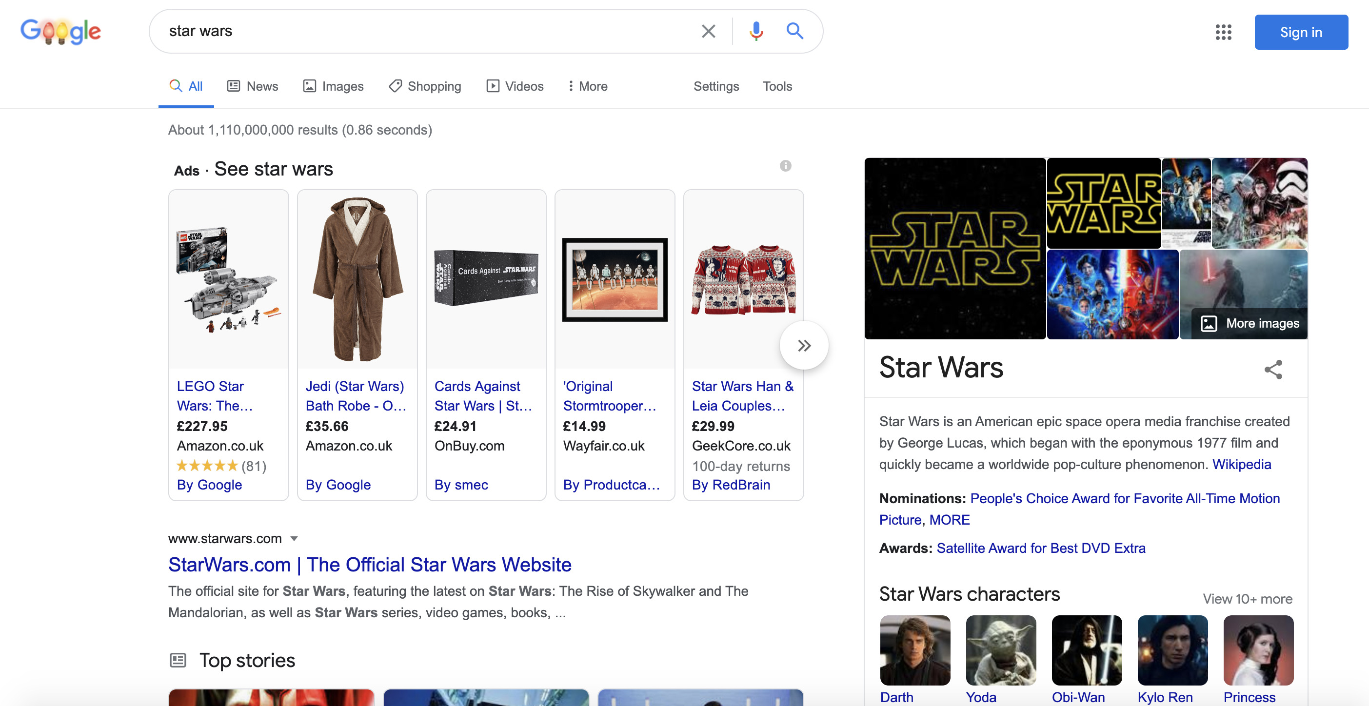 structured data shown in search results