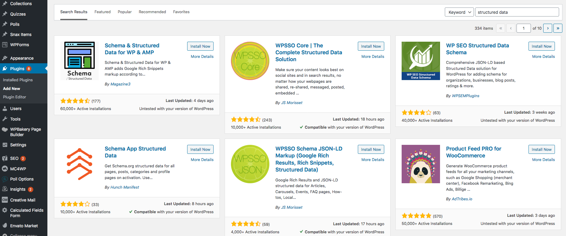 Wordpress plugins overview page.