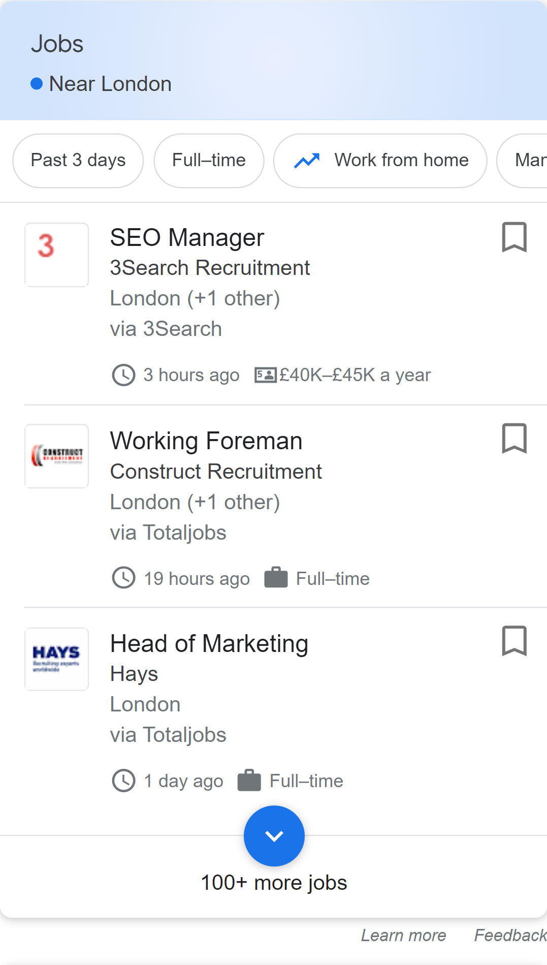 jobs listing example in Google search