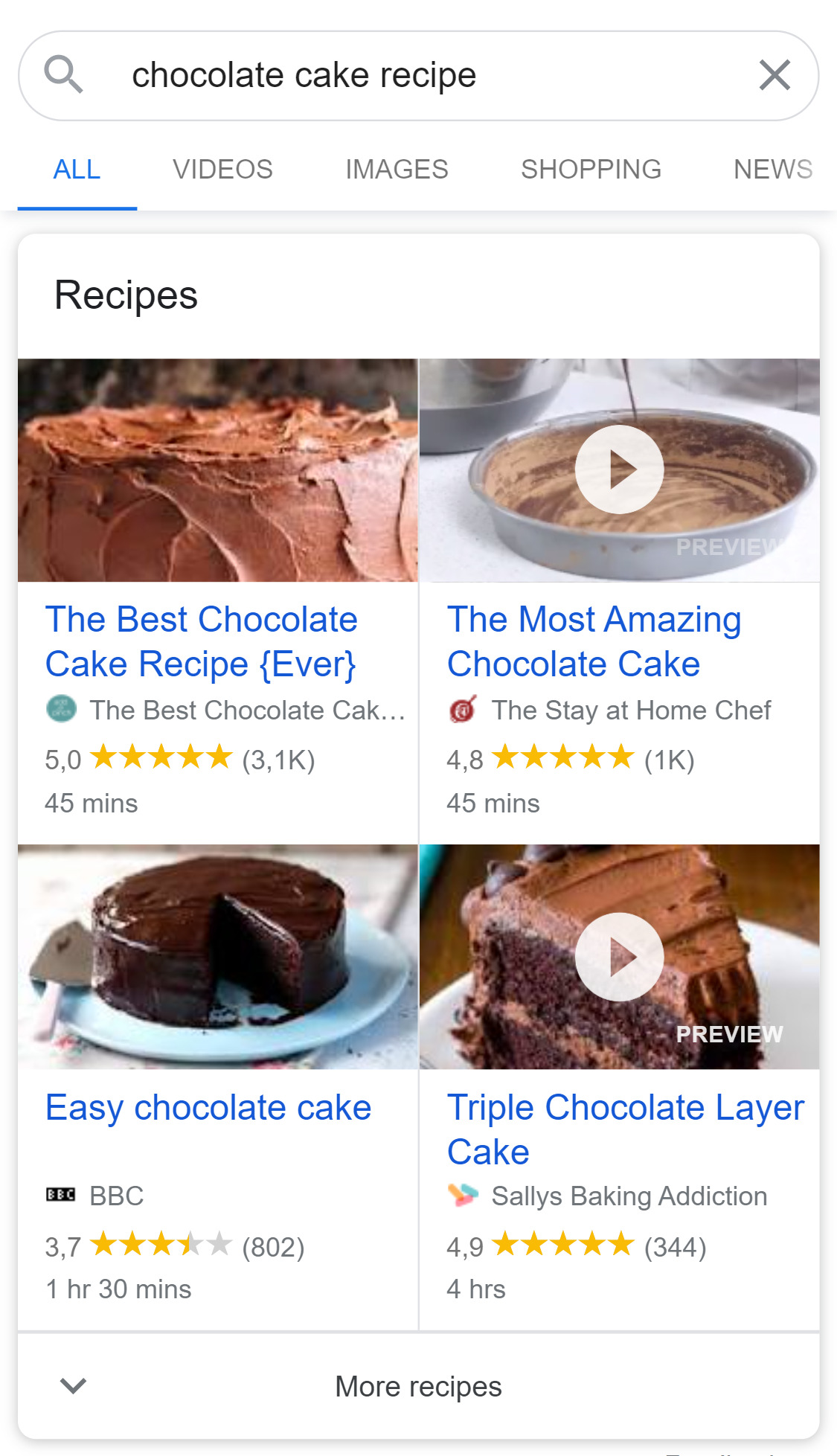 Recipe results in Google search results.
