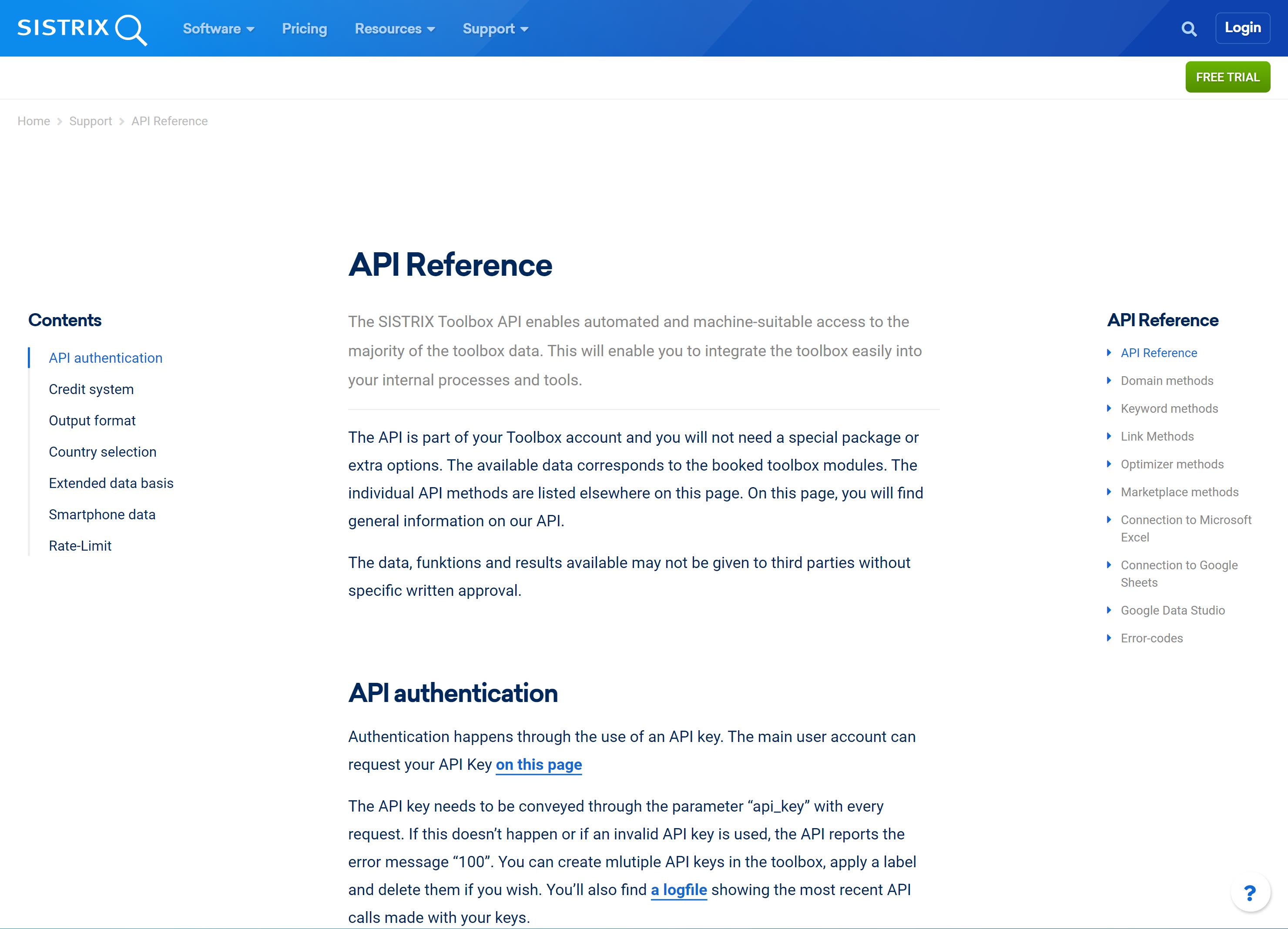 SISTRIX API documentation example