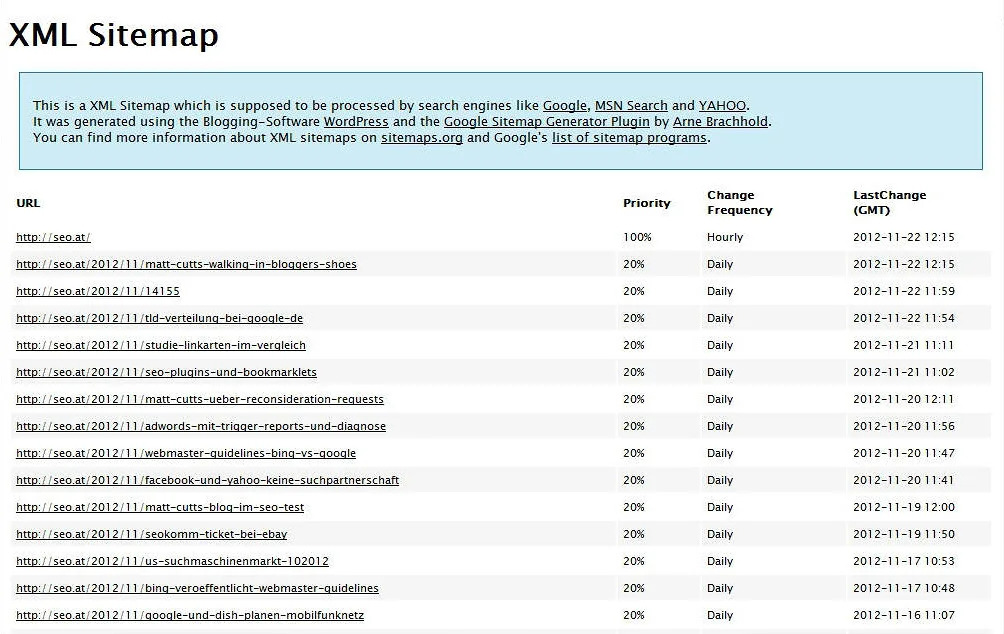 the file sitemap.xml of the domain seo.at in a browser