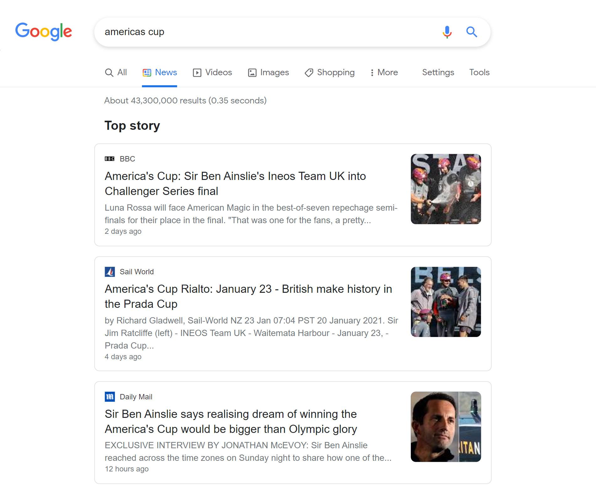 Google News Tab example
