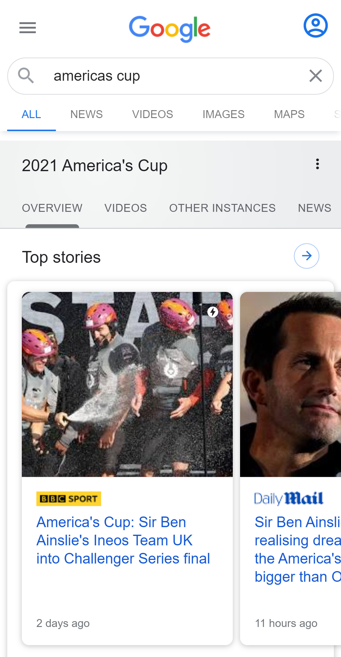 Example Top Stories Box in Google Search