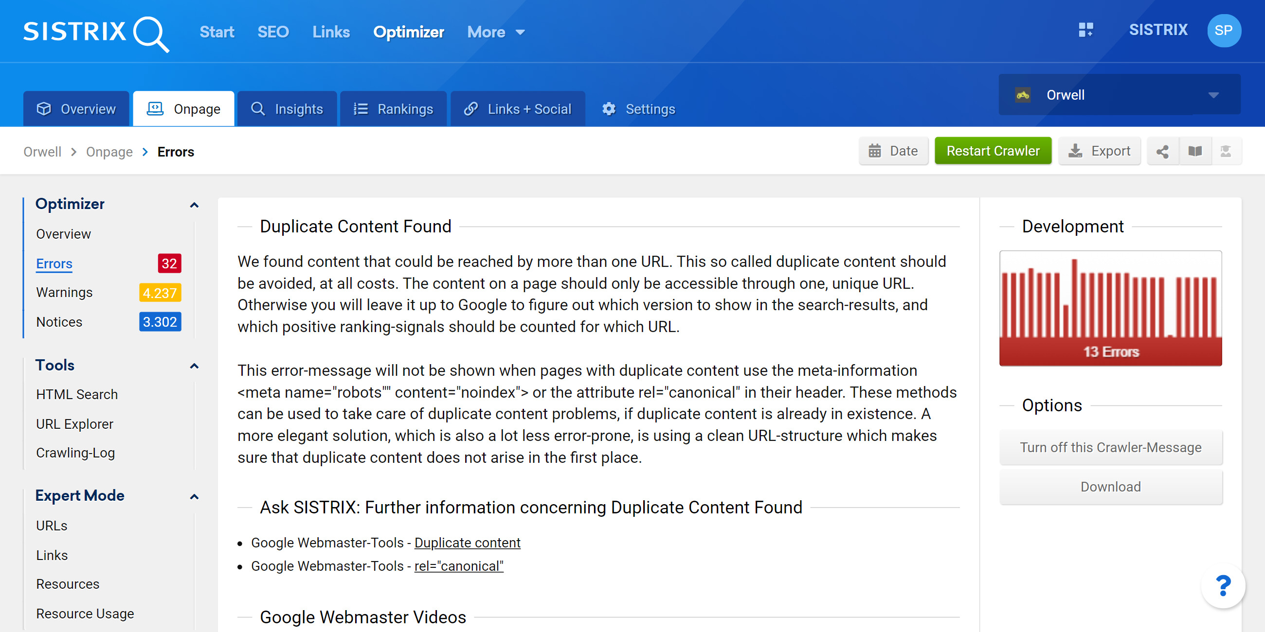 optimiser warnings about duplicate content
