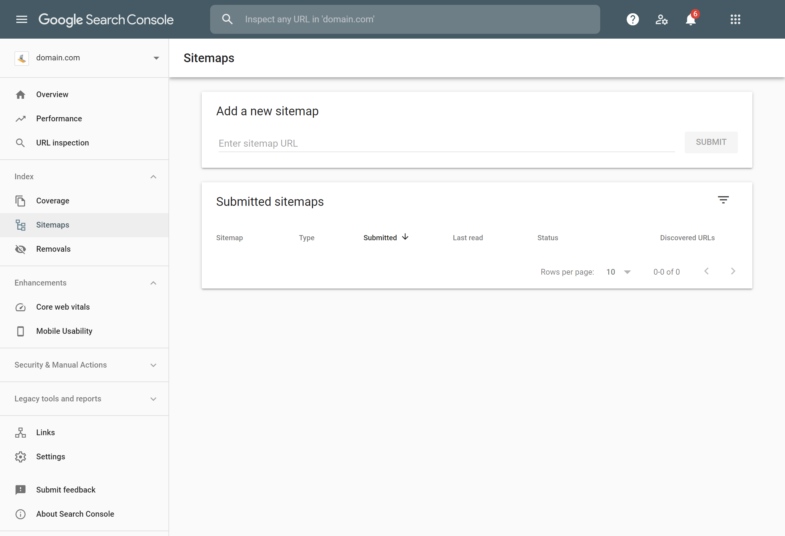 Google Search Console submit sitemap page