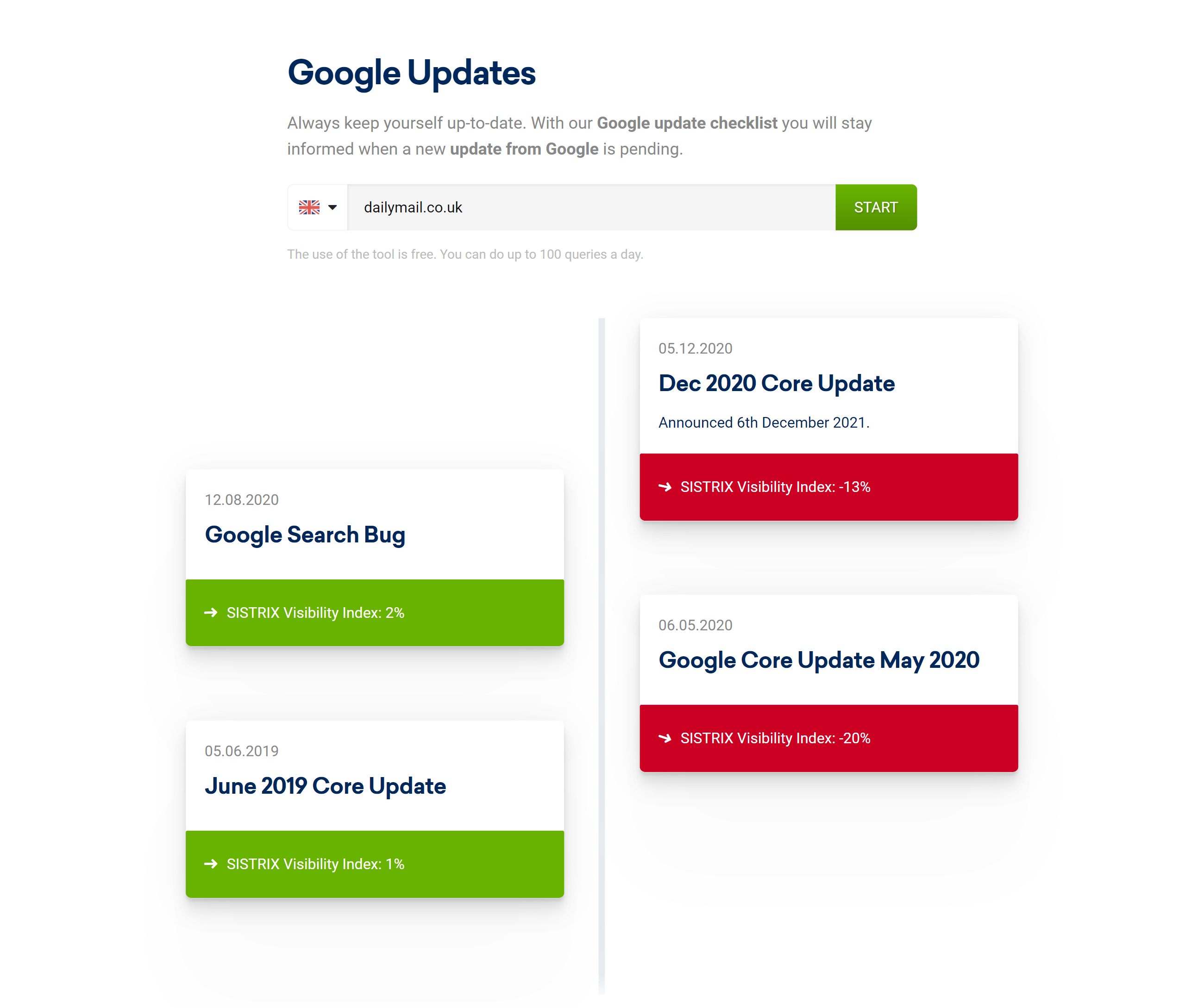 Google Update Check tool example.