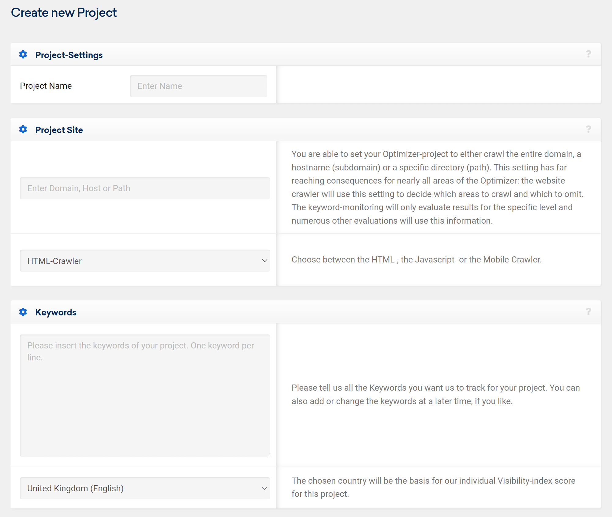 Create a new project in the Optimizer