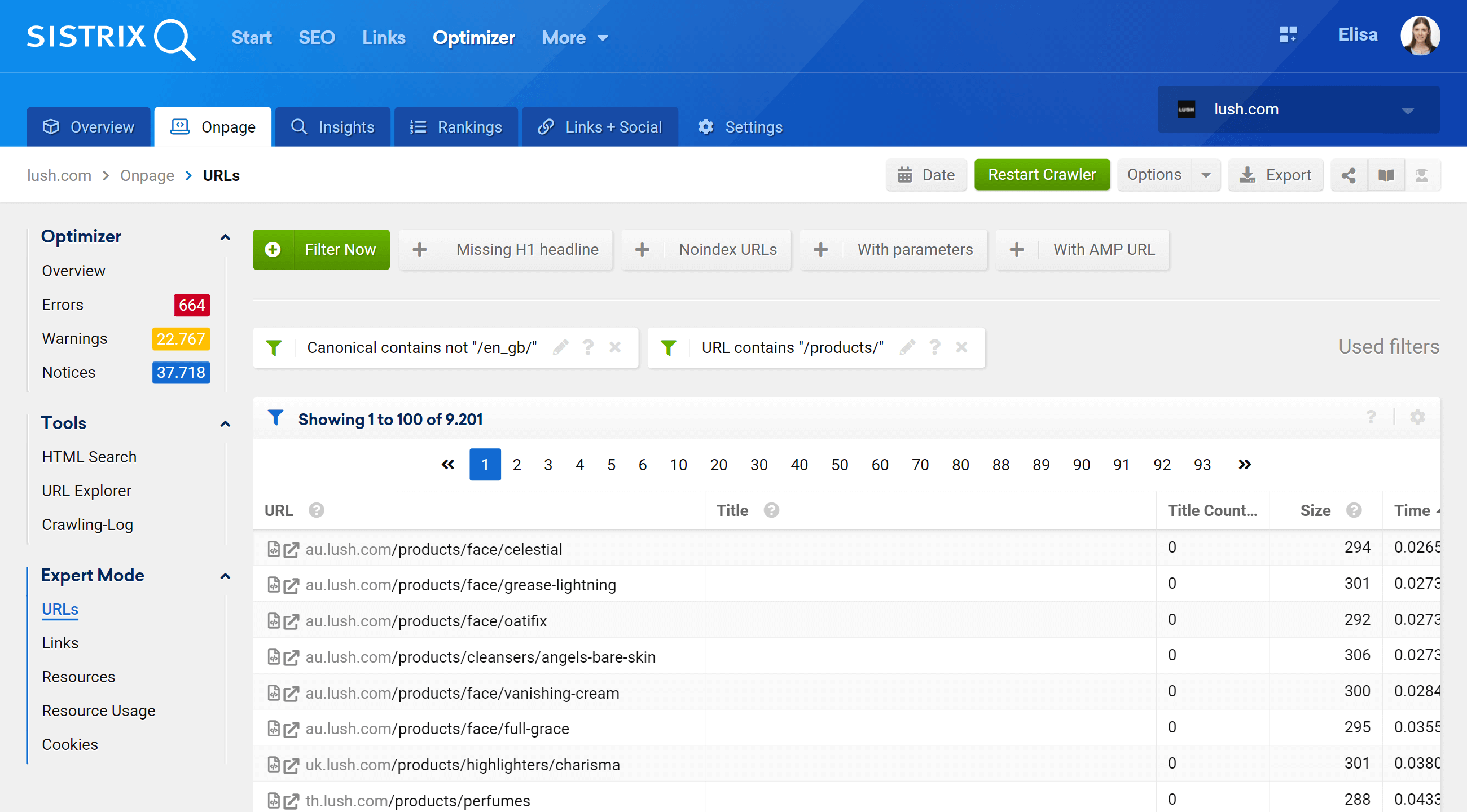 Filters in the URLs table