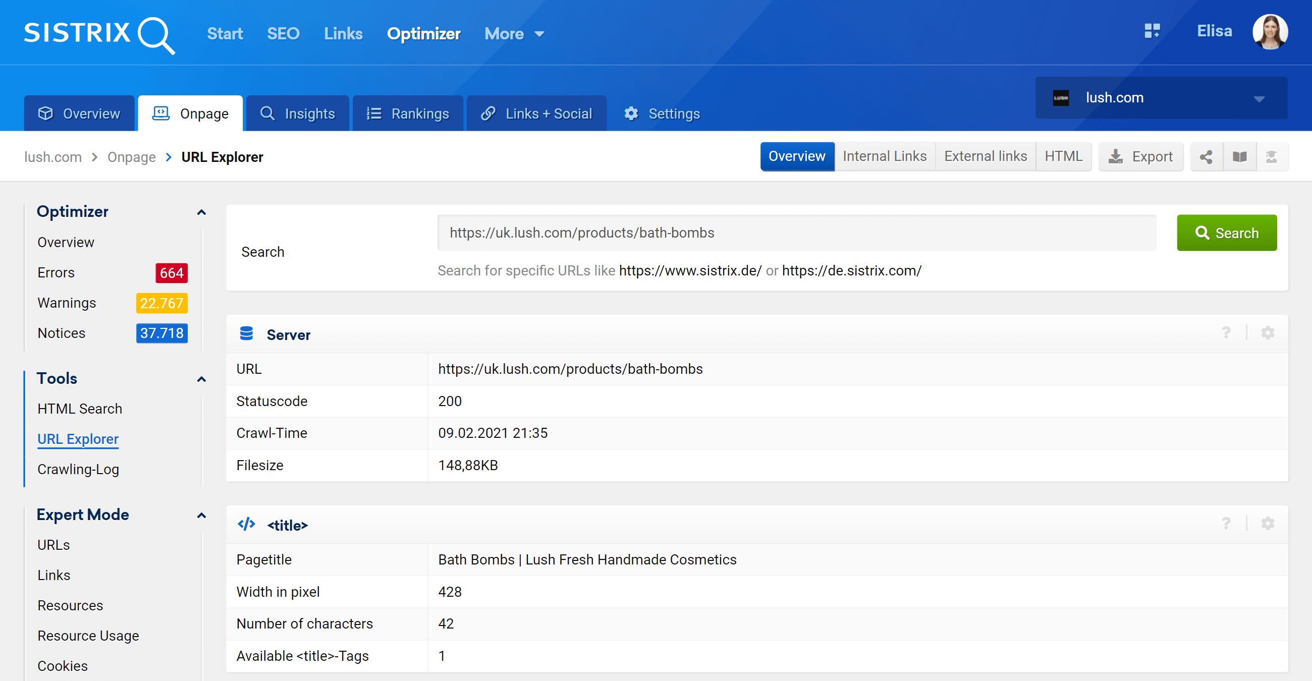 URL-Explorer in the Optimizer
