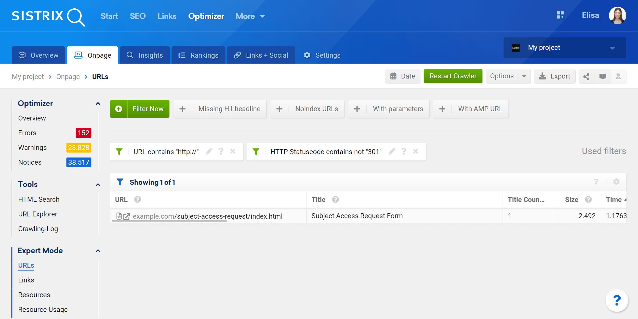 Optimizer expert mode filter for the crawled URLs