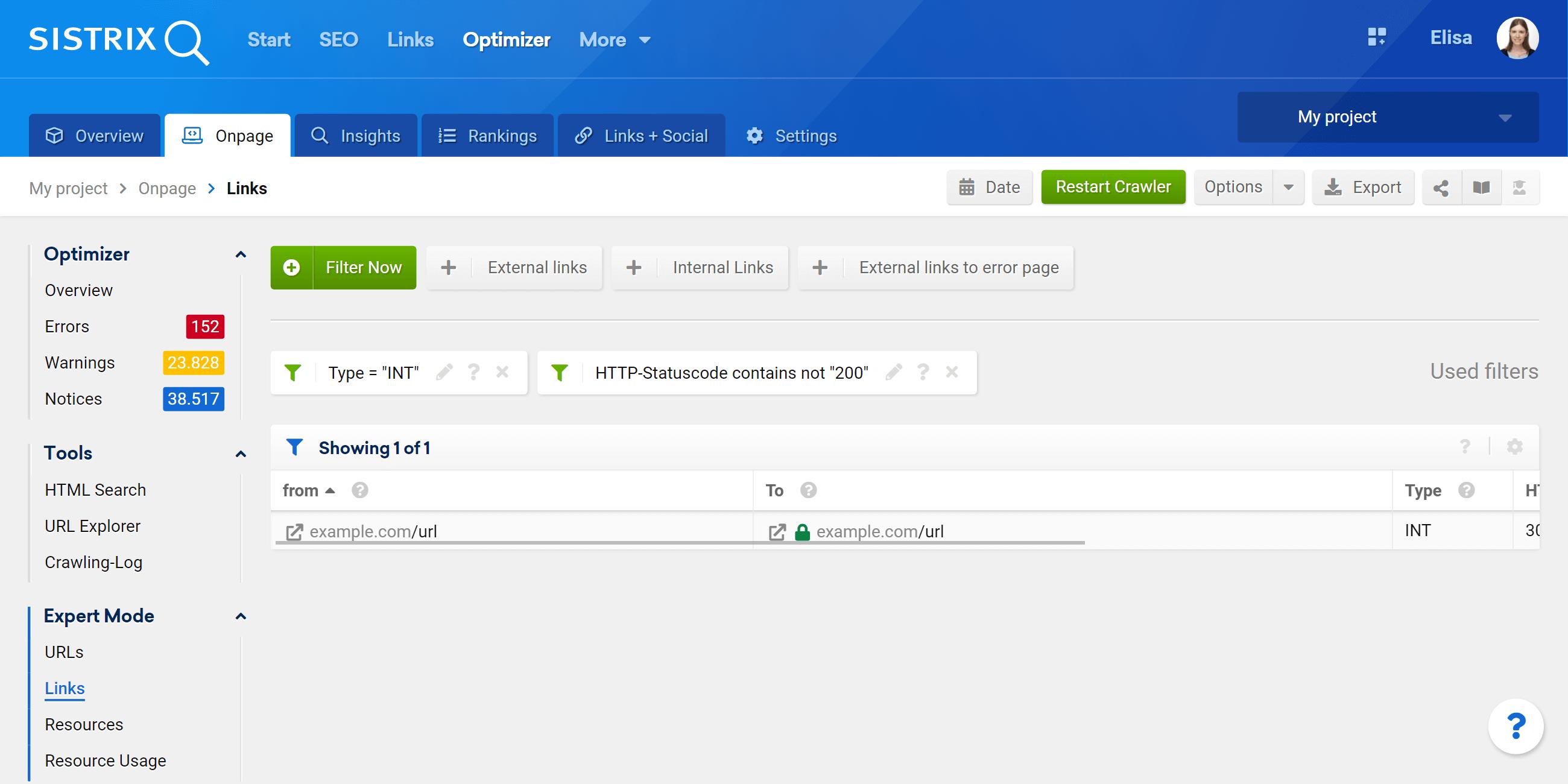 Optimizer expert mode filter for the crawled Links