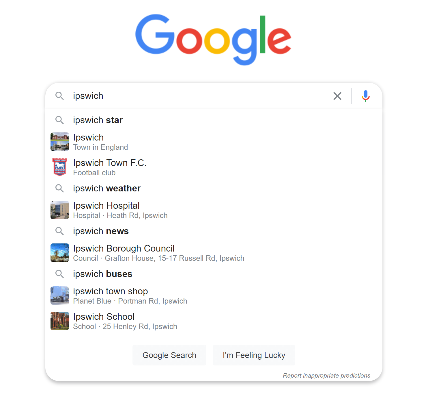 example for Google autocomplete (desktop)