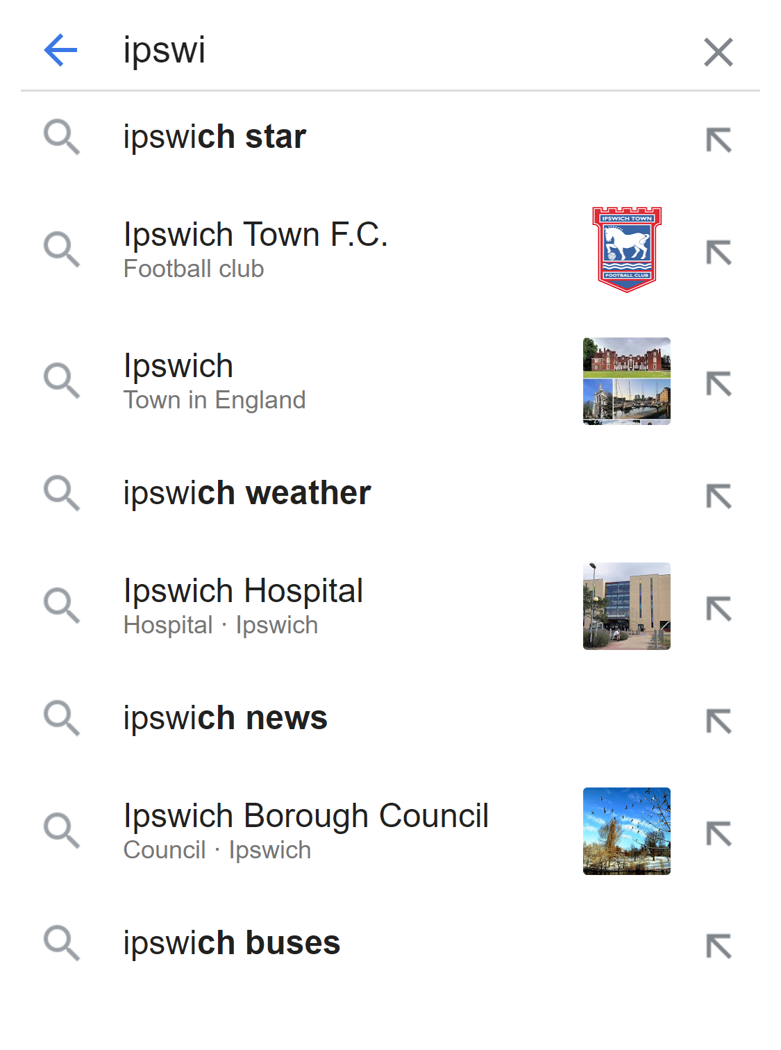 example for Google autocomplete (mobile)