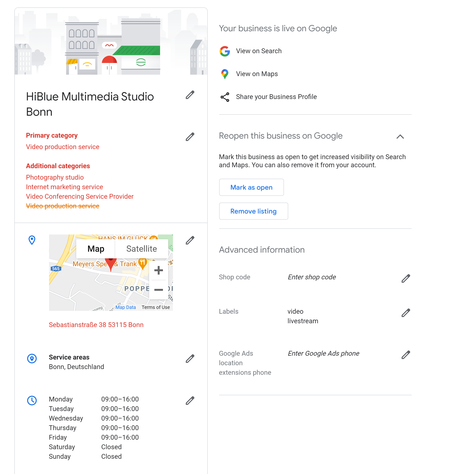 Example Google My Business data