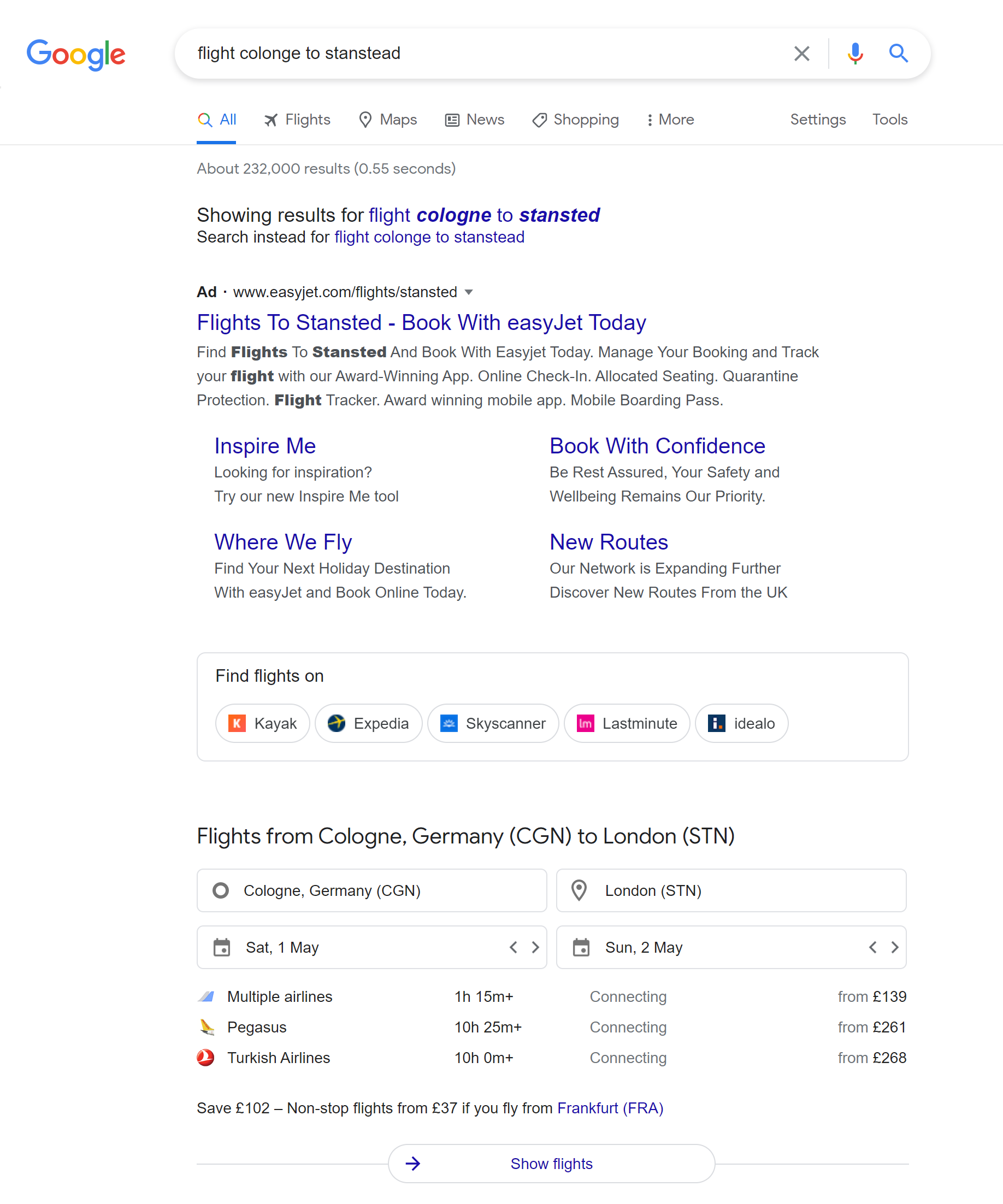 Google's flight search feature