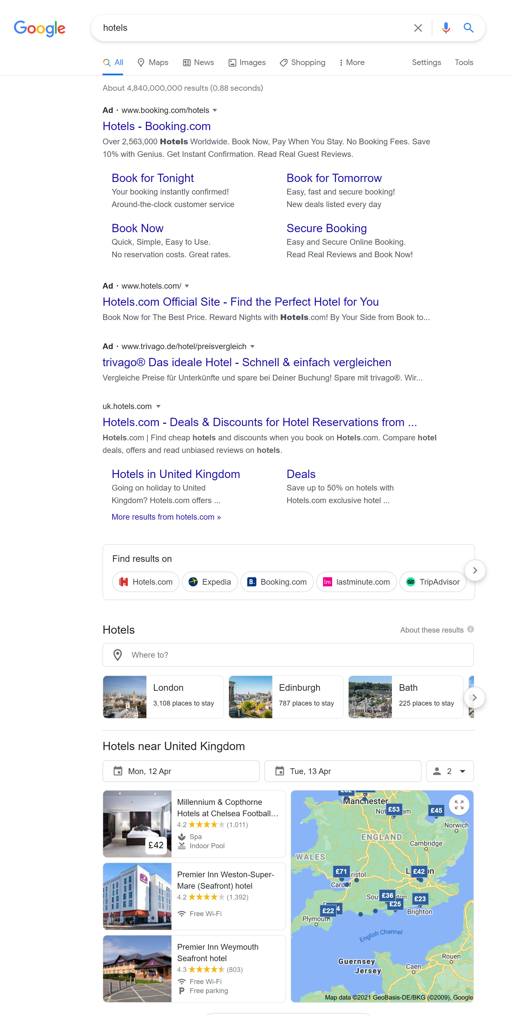 Google's hotel search feature