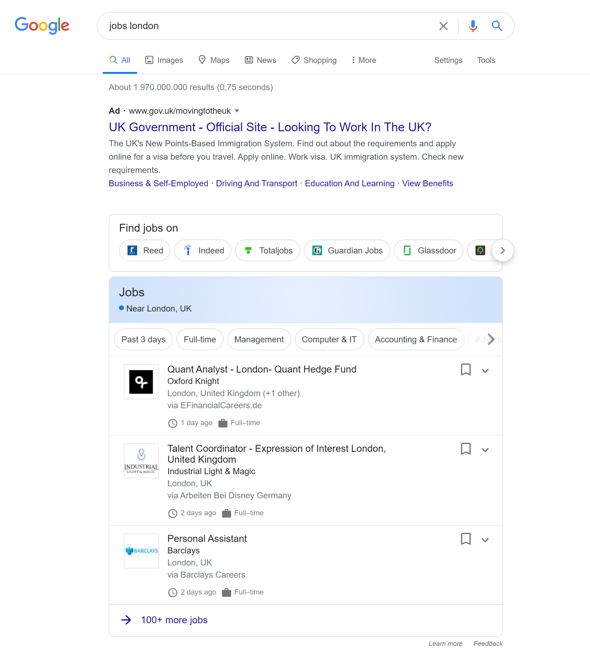 Google's job search feature