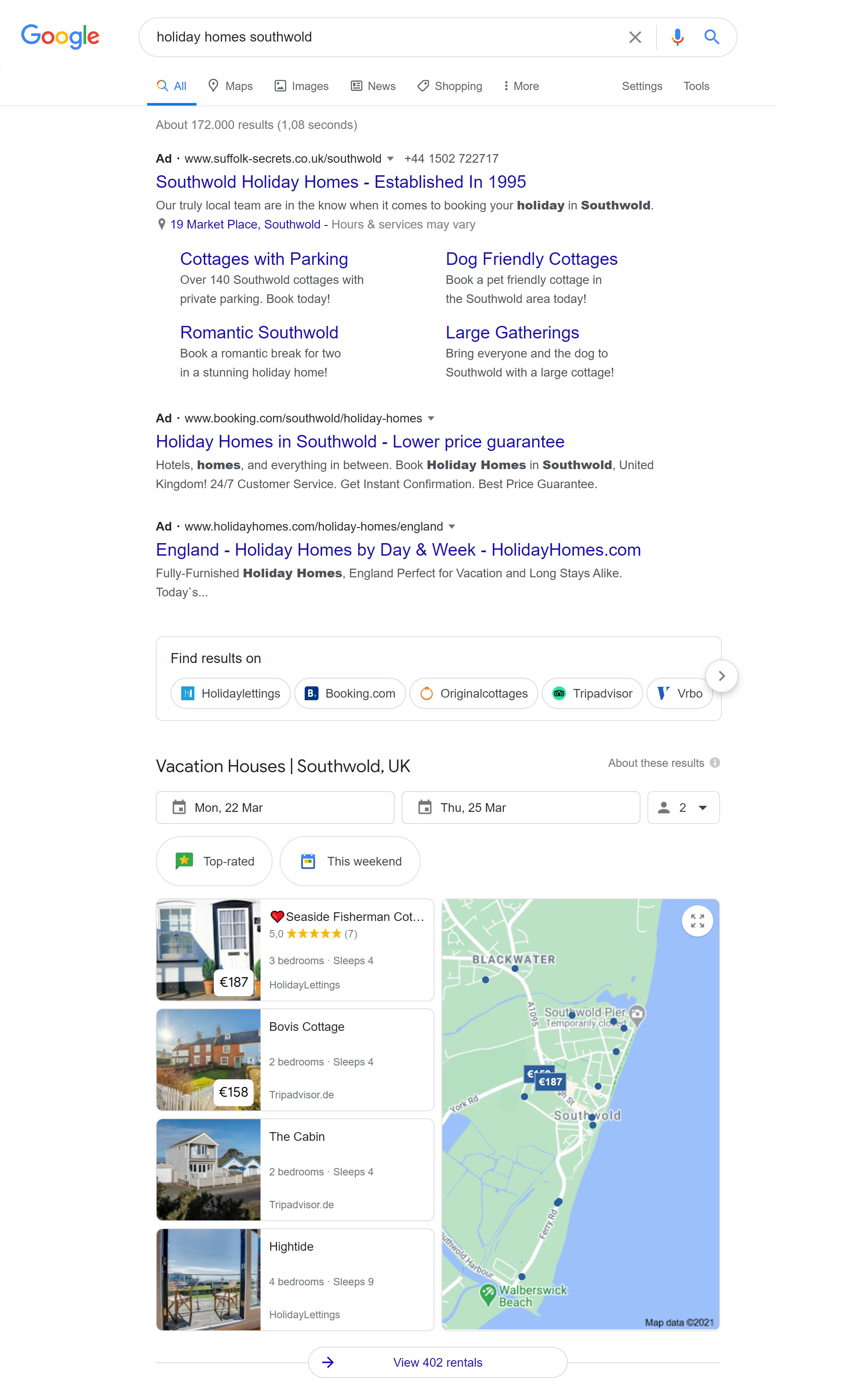 Google search holiday homes feature with additional ads before the first organic result.