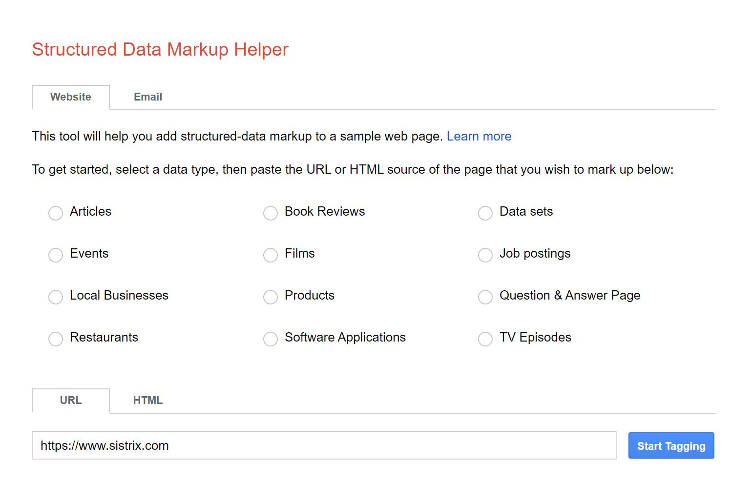 Image of the structured data markup helper