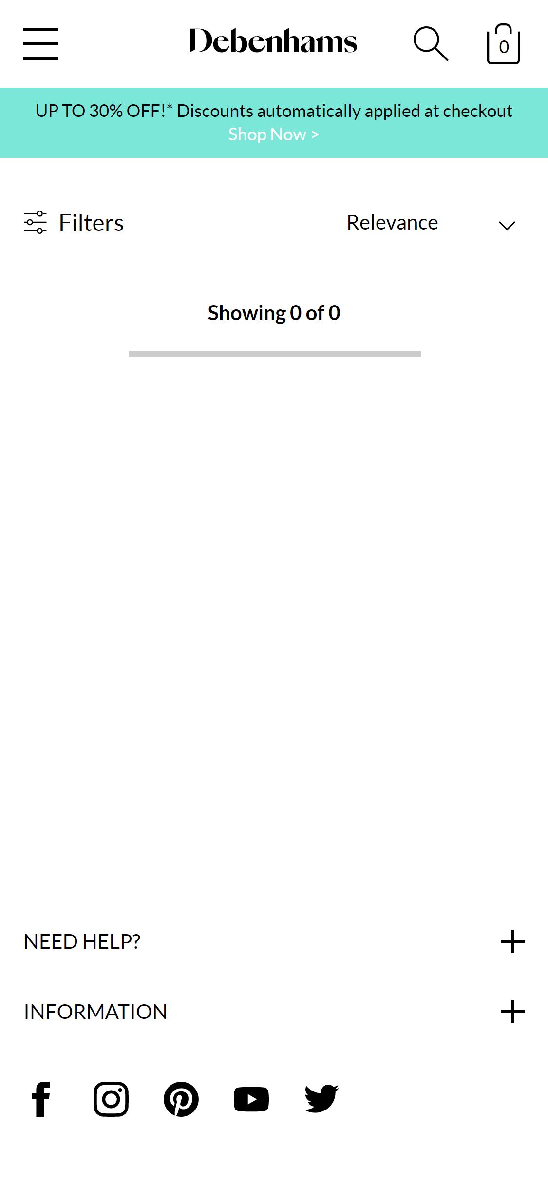 debenhams.com empty landing pages.