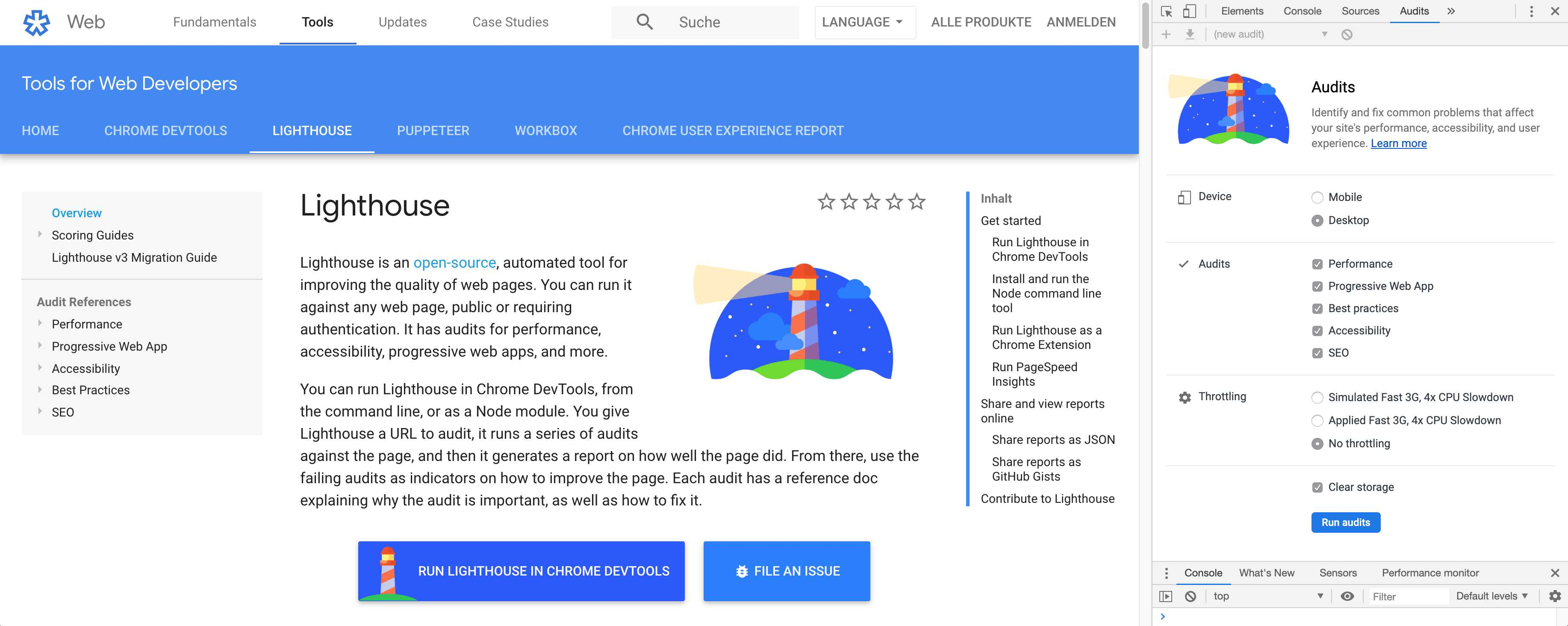 Lighthouse performance test from Google
