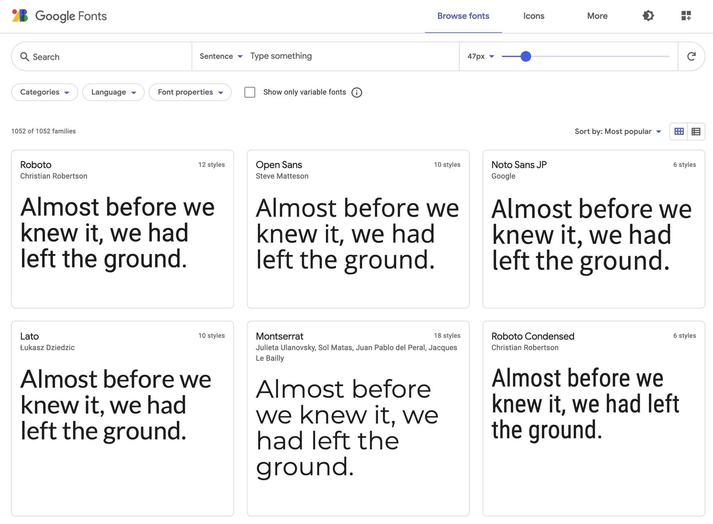 Google fonts examples