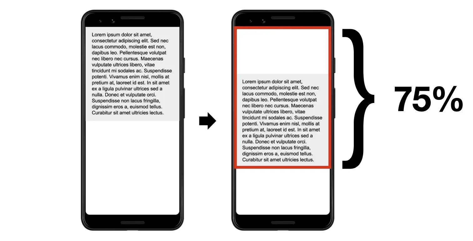 Example content shift on mobile screen