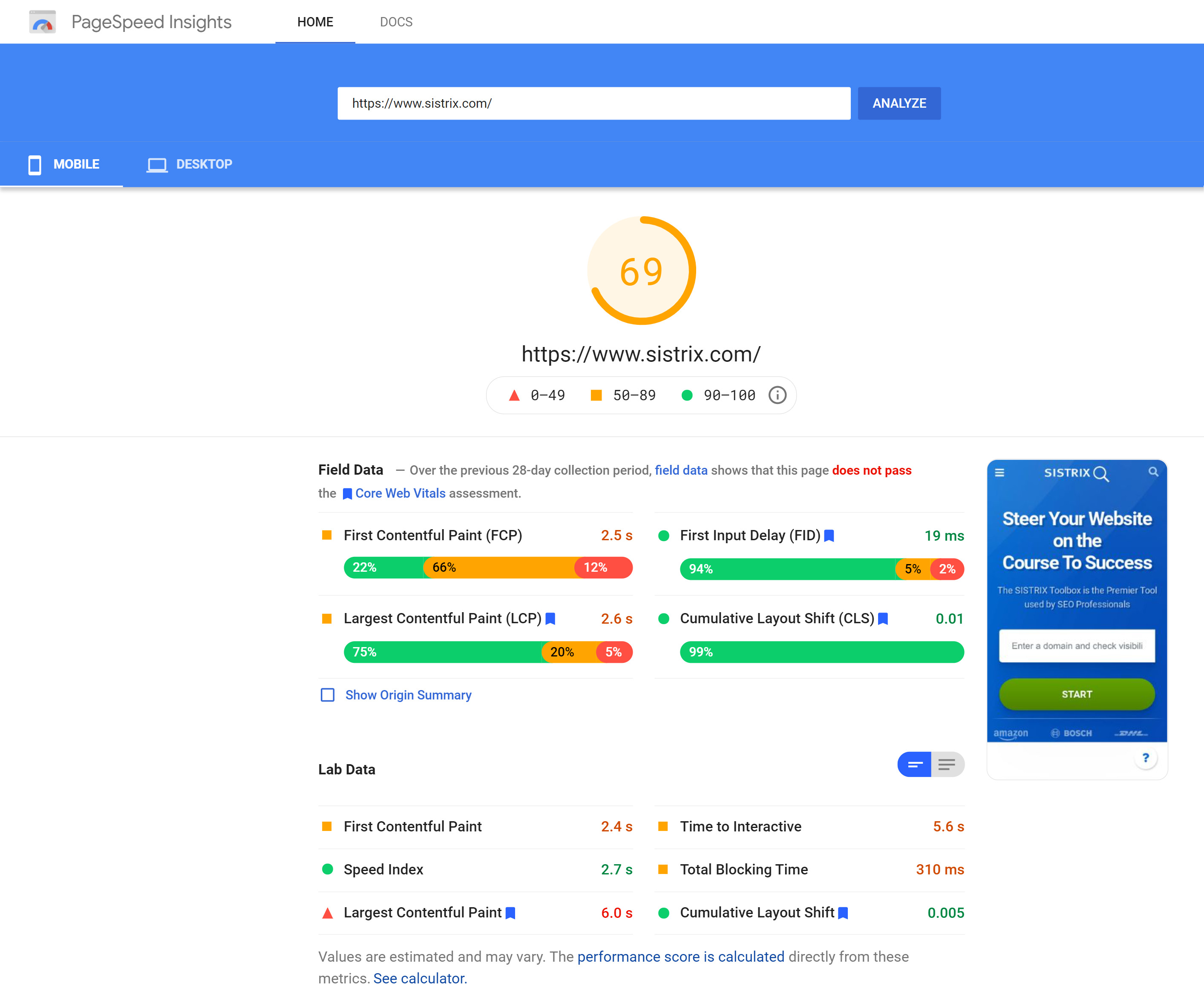 A Pagespeed Insights example resutls page.