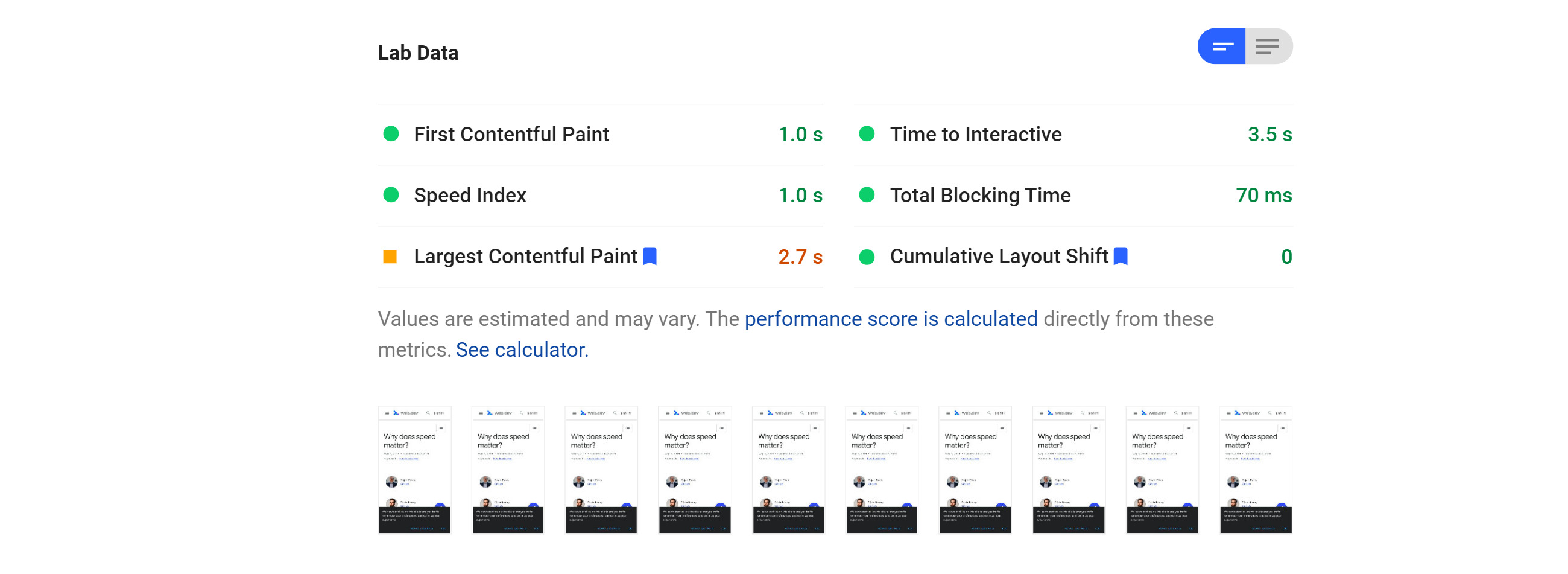 PageSpeed insights lab data