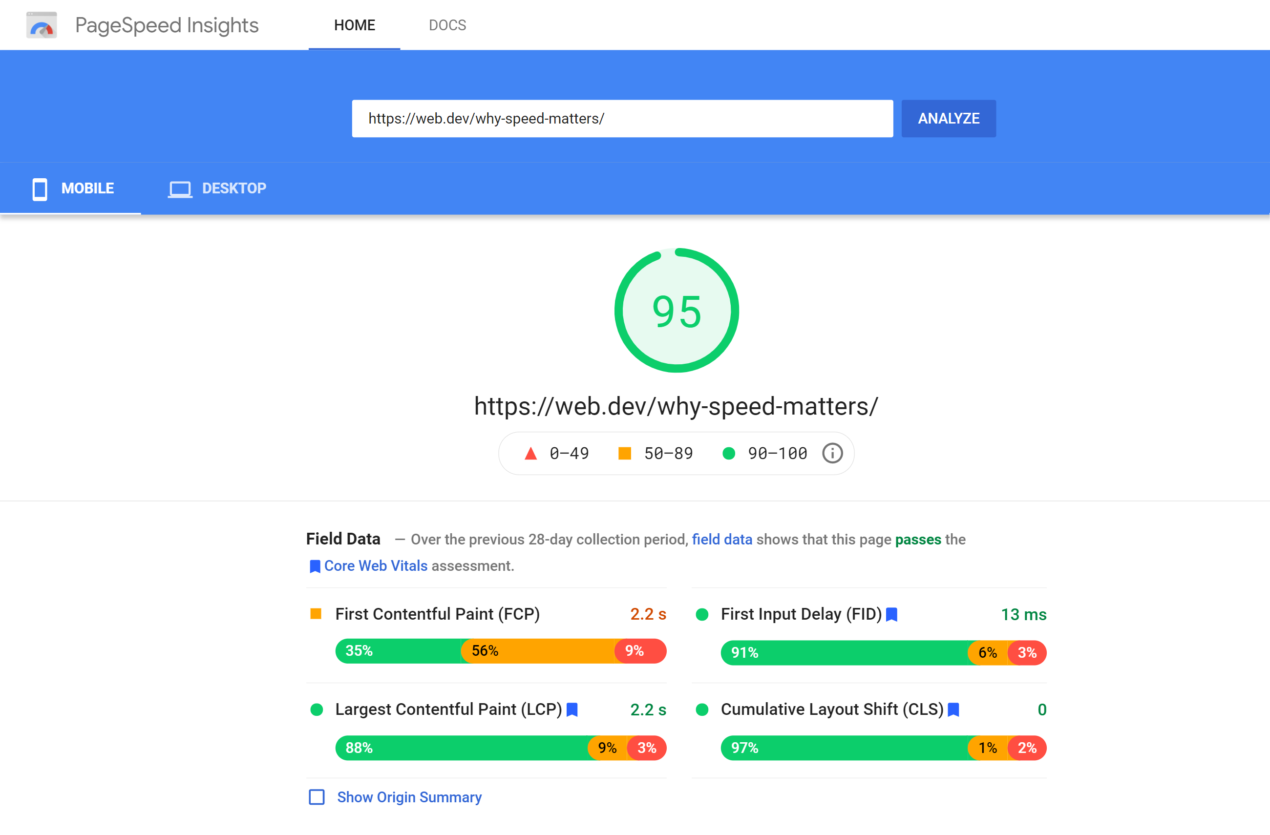 Field data from PageSpeed Insights