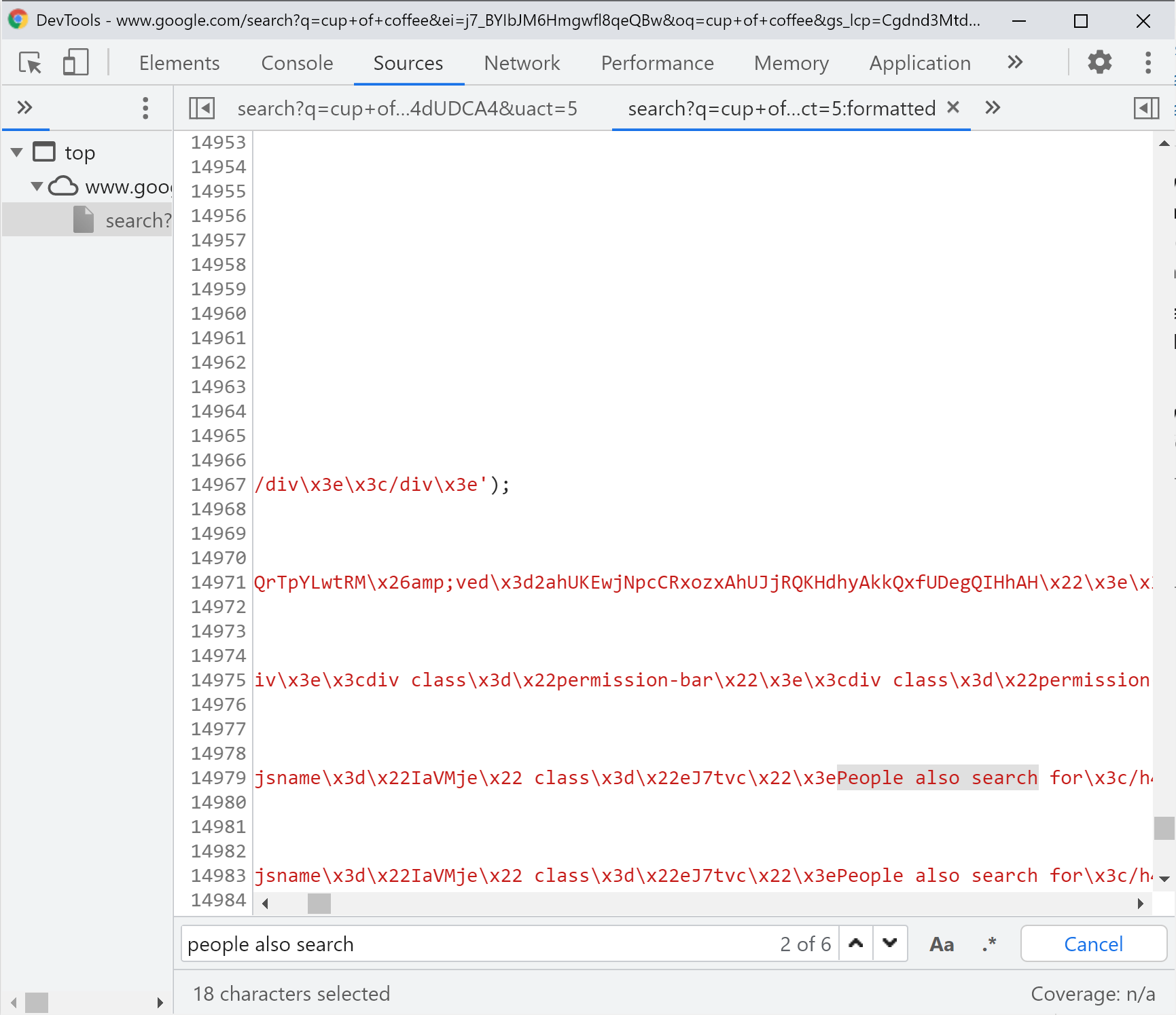 People also search - code already placed in the HTML ready for a return to the page.