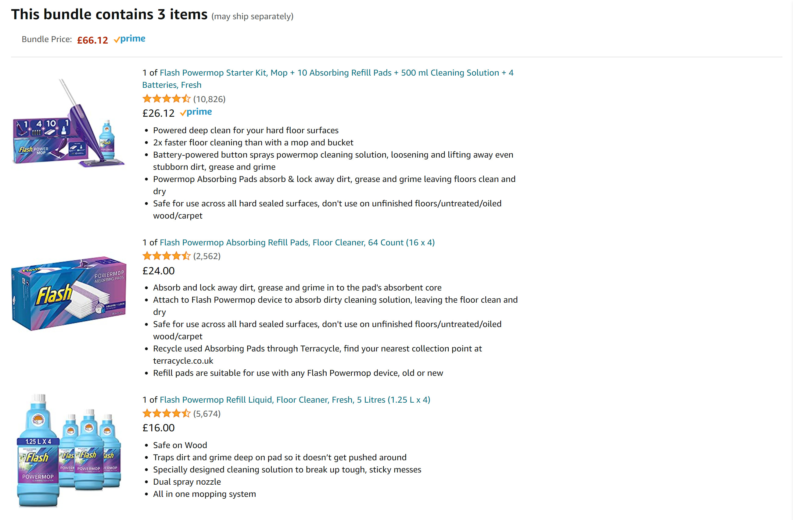Example product bundle in Amazon