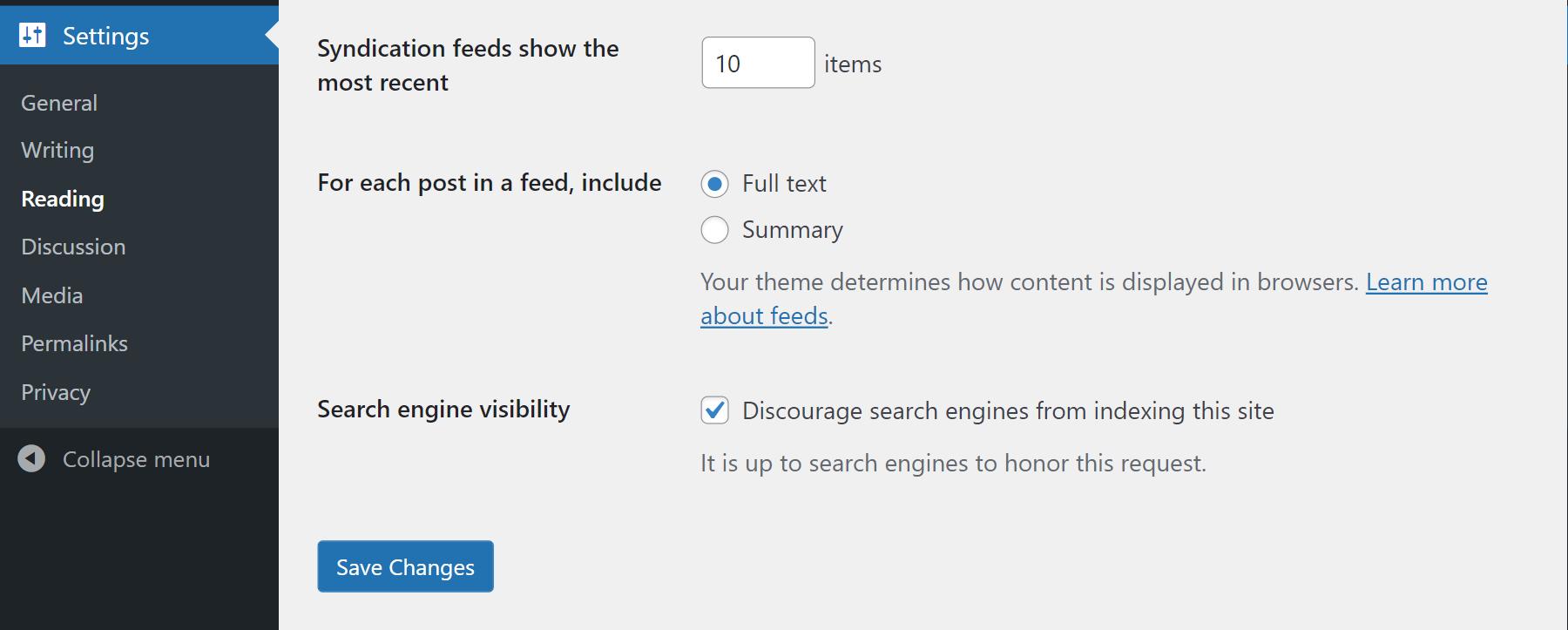 Set a sitewide noindex in WordPress