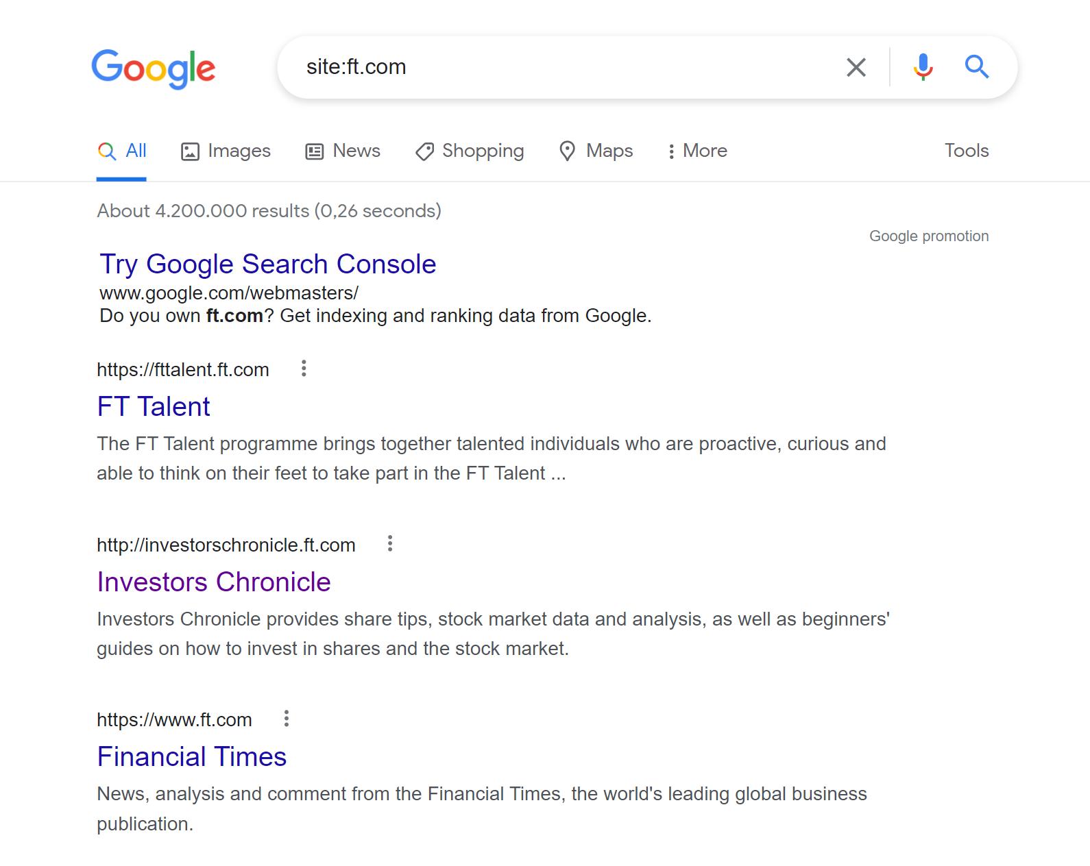 Google site: query