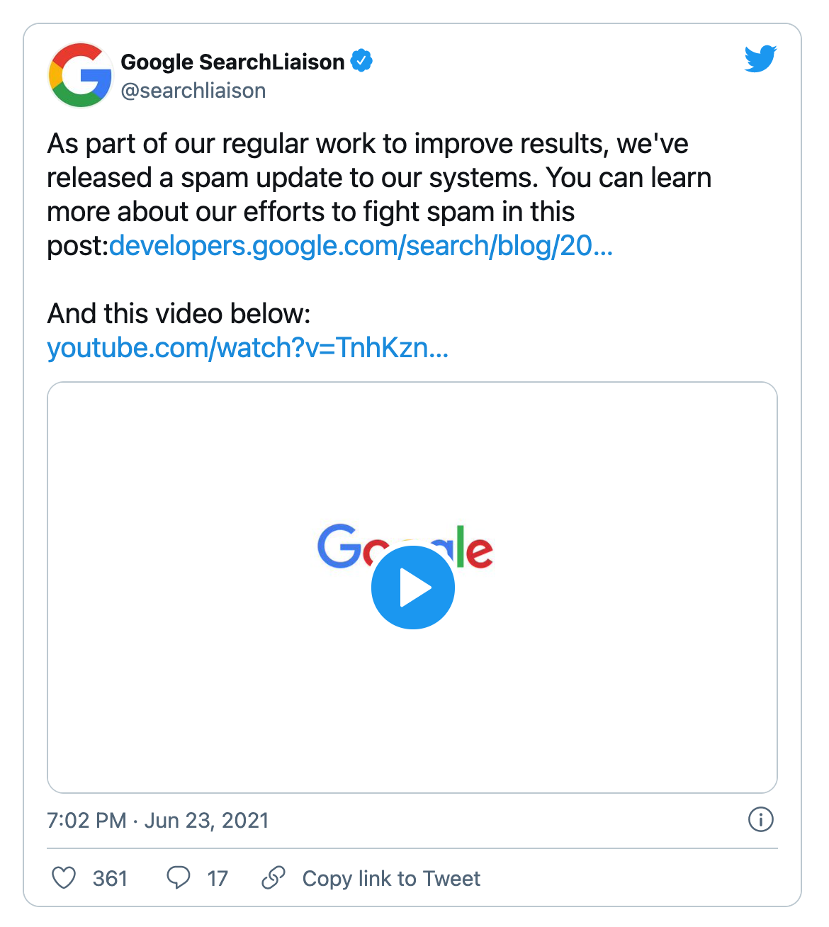 Twitter announcement of the Google spam update June 2021