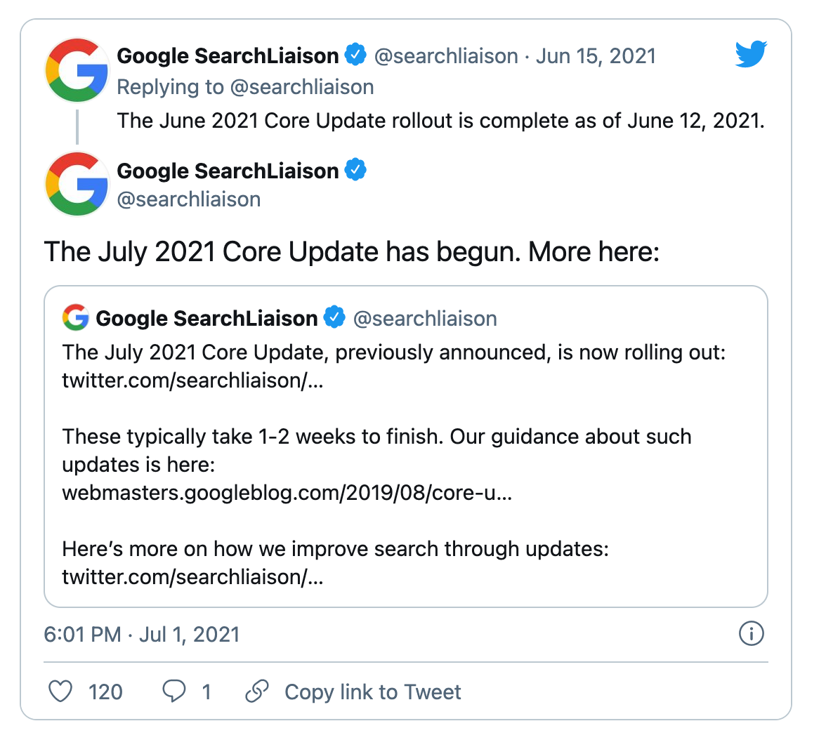 Twitter announcement for the July Core Update.